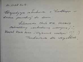 Photo: wpis w księdze pamiątkowej