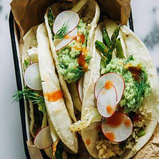 Roasted Spring Vegetable + Quinoa Tacos w/ Dill-y Guacamole