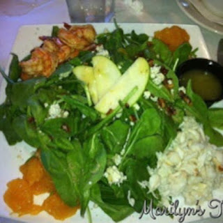 Spinach Salad With Crab Cake And Grilled Shrimp.