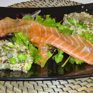 Fresh Mint Bulgar and Quinoa Edamame Salad with Smoked Salmon
