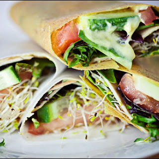 Faux-Turkey Veggie Coconut Wraps with Vegan Honey Mustard & Sun-dried Tomatoes.