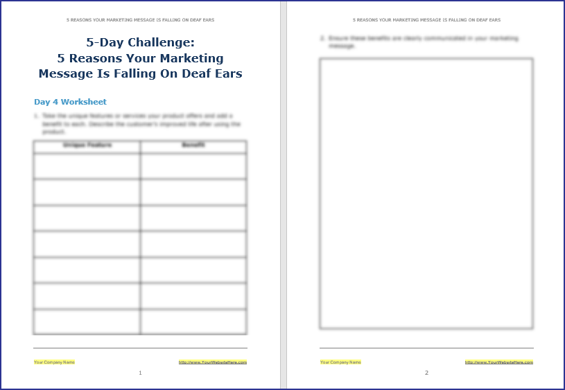 Create Your Marketing Message - 5-Day Challenge Worksheet 4