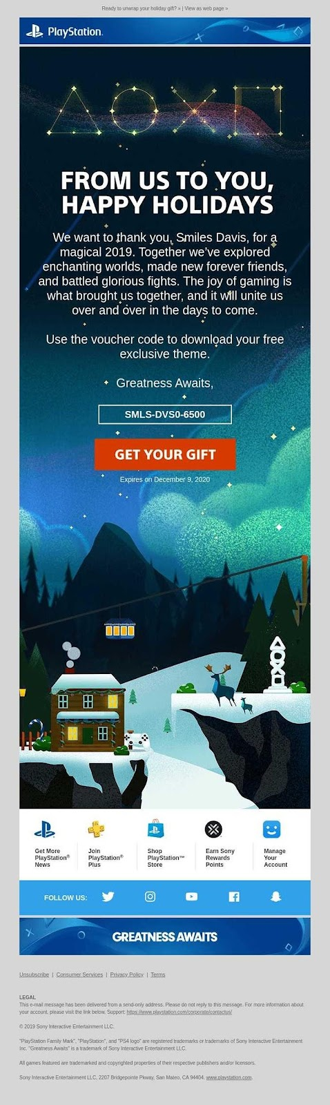 Playstation holiday email example