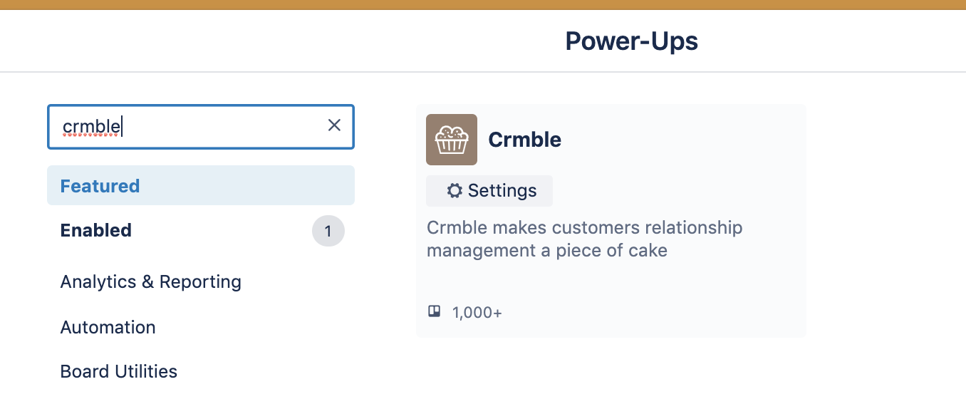 Addin Crmble Power-Up to Trello