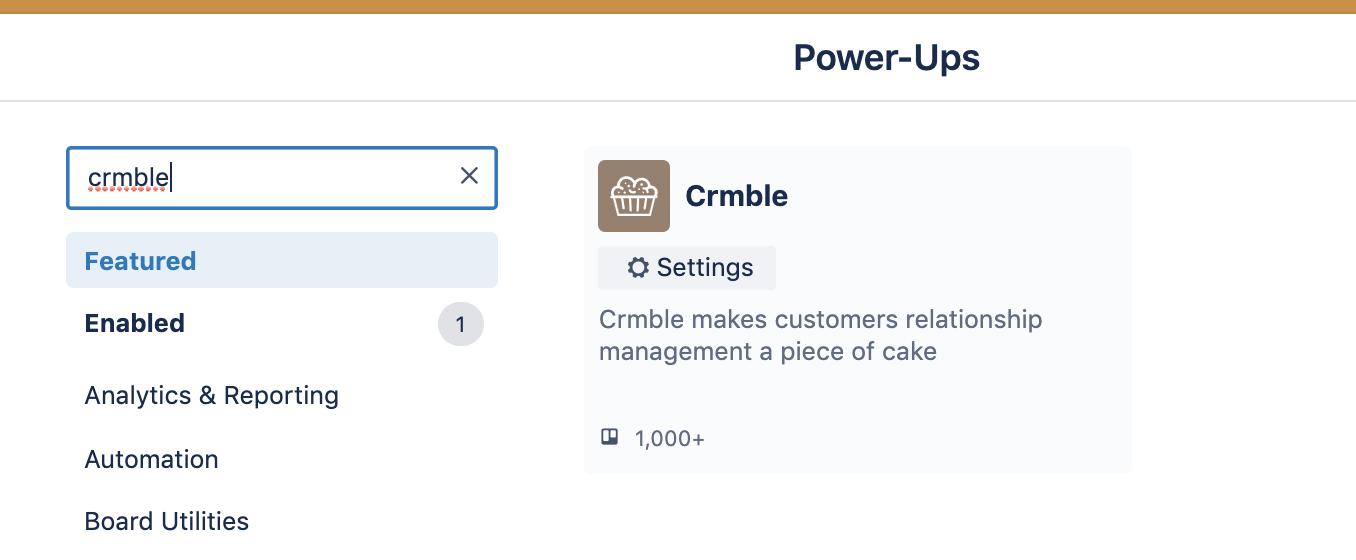 Addin Crmble Power-Up to Trello