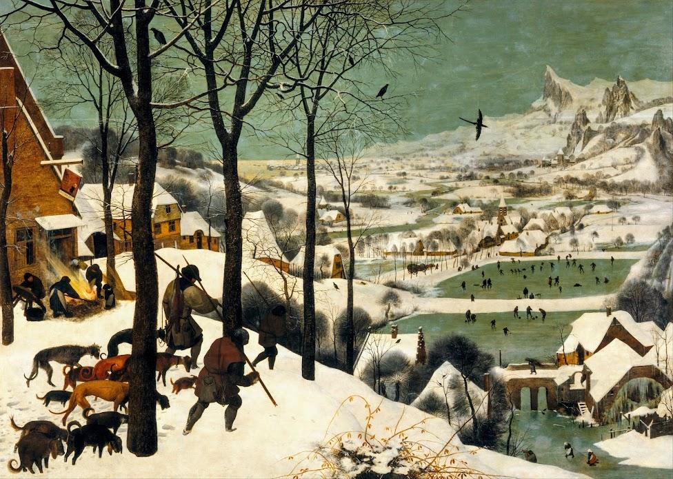 Pieter Bruegel, , Powrót z polowania, hokej na lodzie