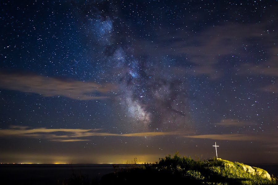 milky way over New-brunswick by Steevens Syvrais - Landscapes Starscapes ( sky, sea, cloud, night, rock, cross, milky way )