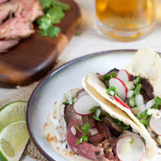 Grilled Lamb Tacos with Cucumber Salsa and Yogurt.