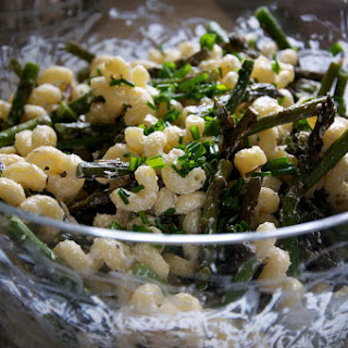 Creamy Goat Cheese Pasta with Roasted (or Grilled) Asparagus
