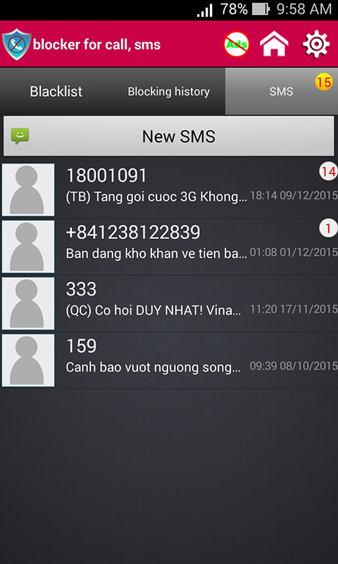 Block call and block SMS- screenshot