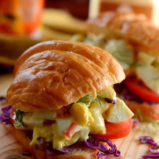 EGG SALAD CROISSANT SANDWICH WITH MANGO MAYO.