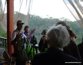 Photo: Birder Extraordinaire, Greg Homel, chatting with birders at the Vallarta Bird Festival, Vallarta Botanical Gardens
