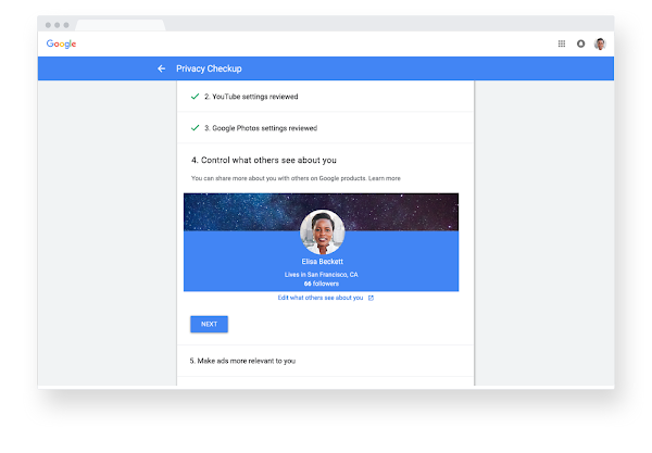 Google Account Privacy Checkup screen