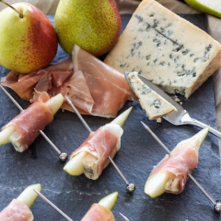 Prosciutto Wrapped Pears with Blue Cheese.