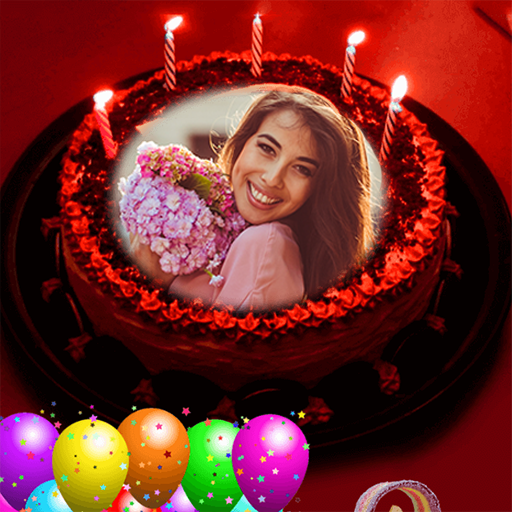 Pic on Birthday Cake with Name and Photo Maker Icon