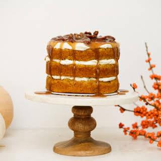 Praline Pumpkin Cake with Maple Cream Cheese Frosting.