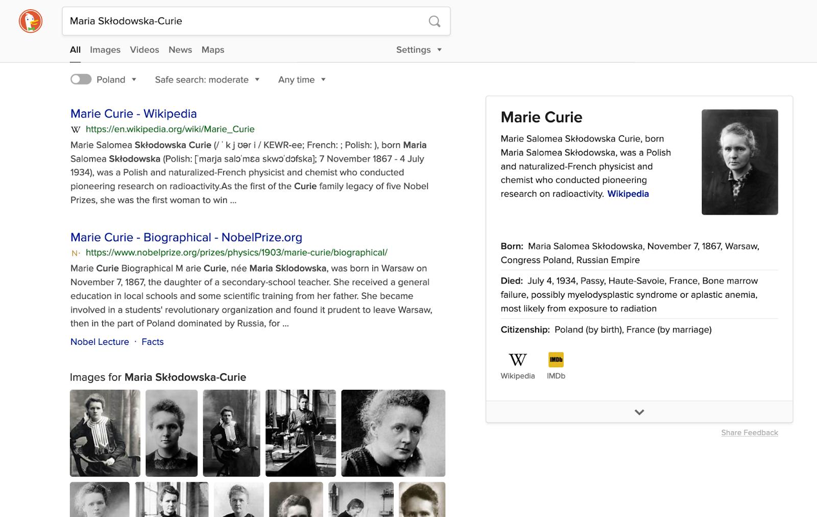 Google snippet - Maria Skłodowska-Curie