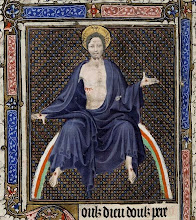 Photo: Title: Christ in Majesty Artist: Luçon Master Medium: Ink on parchment Size: 14.5 cm x 21.0 cm Date: 1400 - 1415 Location: Free Library of Philadelphia, Rare Book Collection  http://iconsandimagery.blogspot.com/2009/06/christ-in-majesty.html