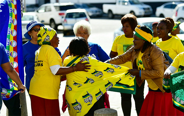 ANC and DA supporters outside the court yesterday