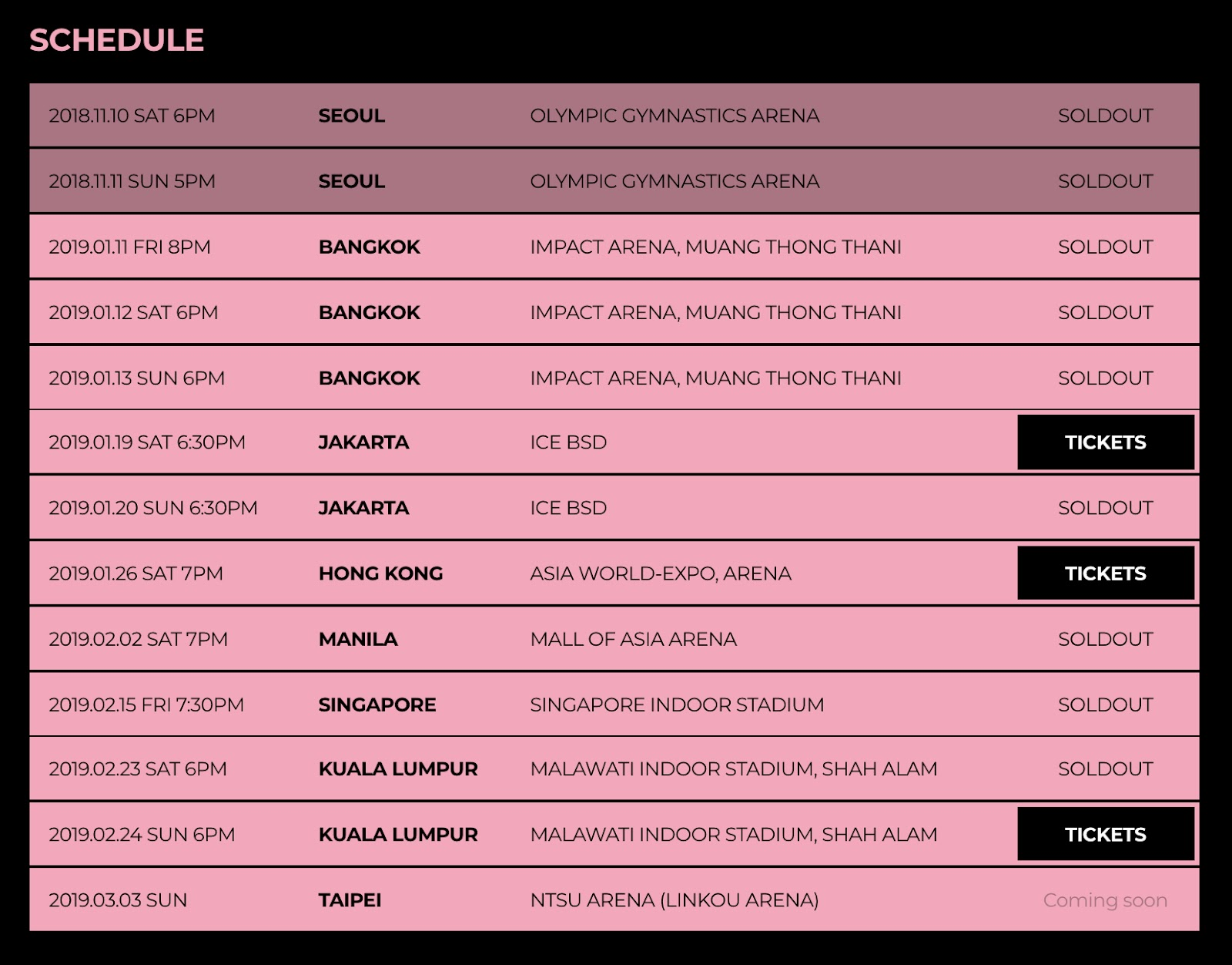 blackpink 2019 world tour sold out
