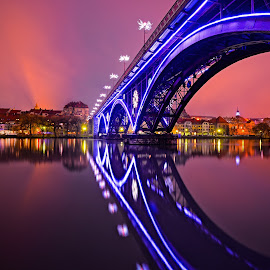Old Bridge by Cvetka Zavernik - Buildings & Architecture Bridges & Suspended Structures ( color, city, light, night, bridge, river, water, night shot )