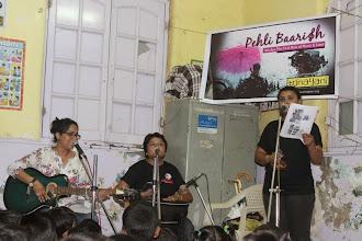 Photo: The first pouring at Prerana: Ritika, Shaoli and Rumki singing