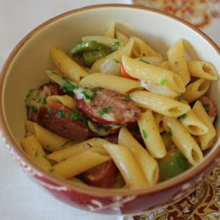 Turkey Kielbasa with Bell Peppers, Onions and Penne Pasta.