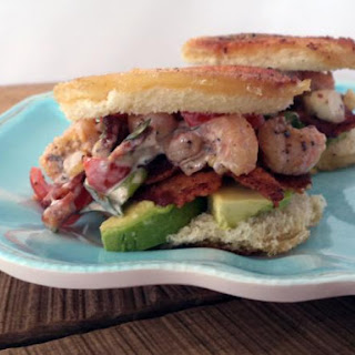 Bacon Shrimp & Tomato Salad on Garlic Bacon Toast