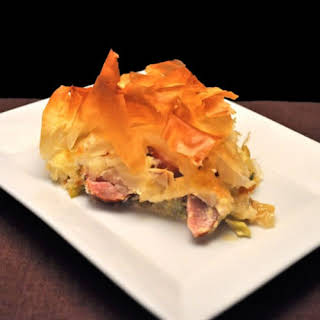 Phyllo Pie with Sausage & Brussels Sprouts.