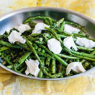 Asparagus, Peas, and Fava Beans with Gremolata and Mozzarella.