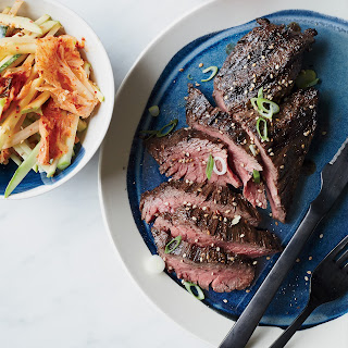 Grilled Hanger Steak with Kimchi-Apple Slaw