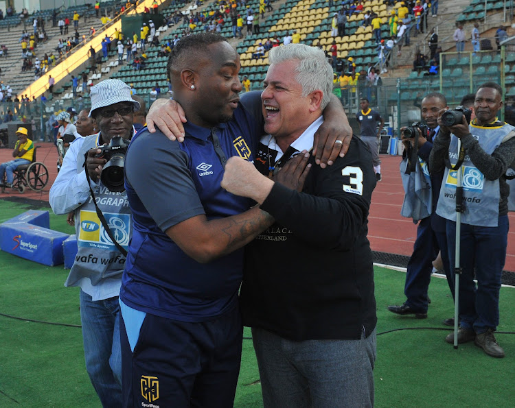 Benni McCarthy coach of Cape Town City and Chairman John Comitis during the MTN8 Semi Final 2nd Leg match between Mamelodi Sundowns and Cape Town City on the 02 September 2018 at Lucas Moripe Stadium.