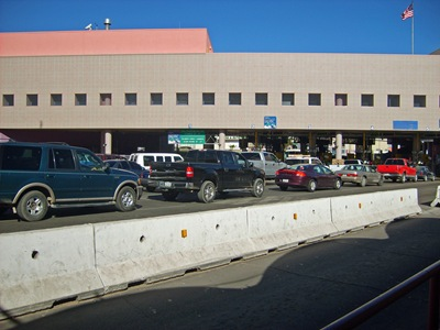 Cars waiting in line to get into USA