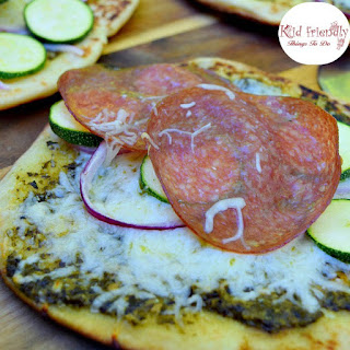 Grilled Pesto Naan Bread Pizza.