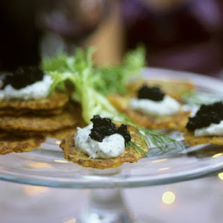 Potato Pancakes with Caviar and Dill Cream