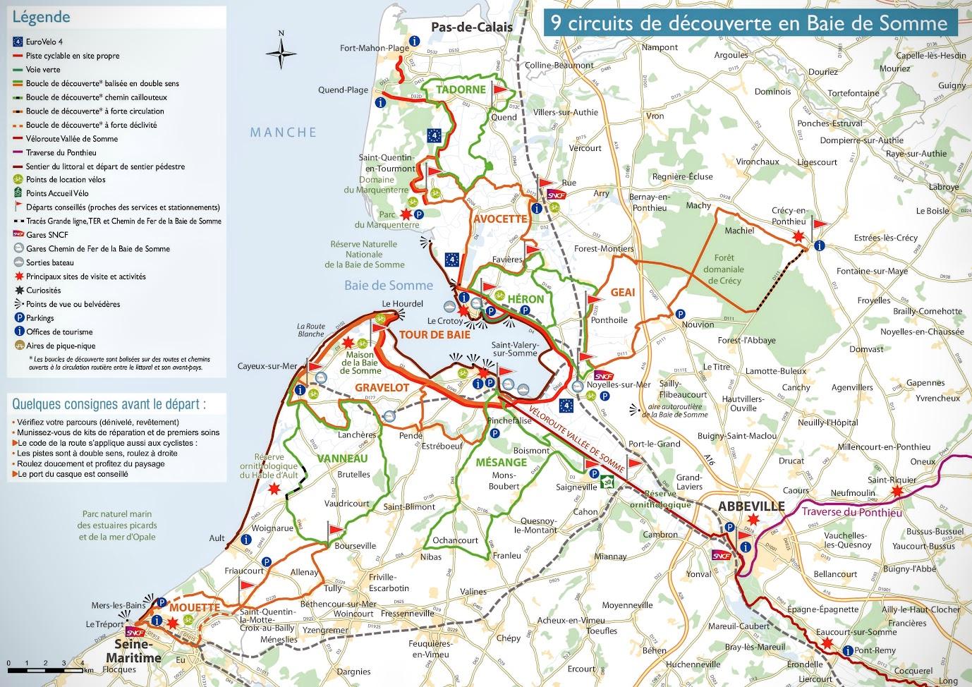 Carte des circuits à vélo en Baie de Somme fournie par l'Office du Tourisme de la Baie de Somme - Blog Les Balades à vélo autour de La Baie de Somme par veloiledefrance.com