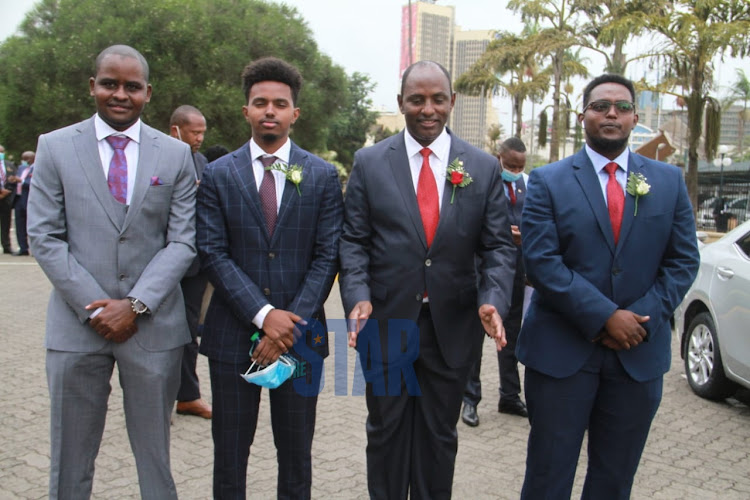 Treasury CS Ukur Yatani's nephew Sales Doko and his sons Ali and Ibrae outside Parliament Buildings on June 11, 2020.