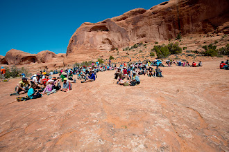 Photo: The group stops for lunch, about halfway up to the arch.