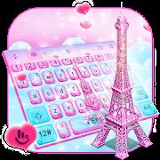 Pink 3D Paris Eiffel Tower Keyboard Theme