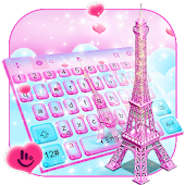 Pink 3D Paris Eiffel Tower Keyboard Theme Android APK Download Free By Love Cute Keyboard