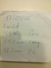 Photo: Anotações da médica pediatra Jussara, em 17/04/2012.