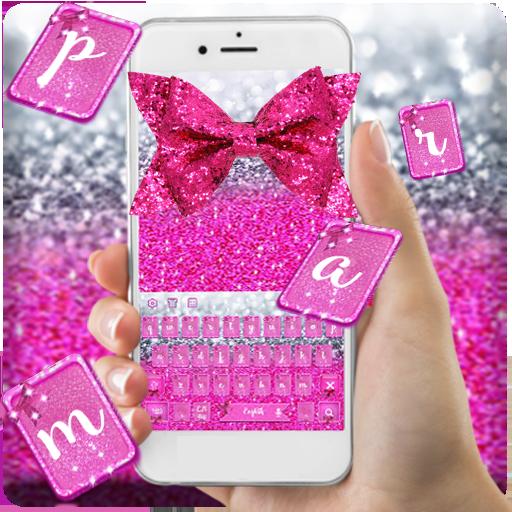 Pink Glitter Bow Keyboard Theme