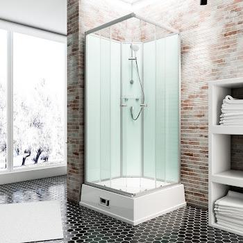 Cabine de douche intégrale avec chauffe-eau et pompe, Korfu II