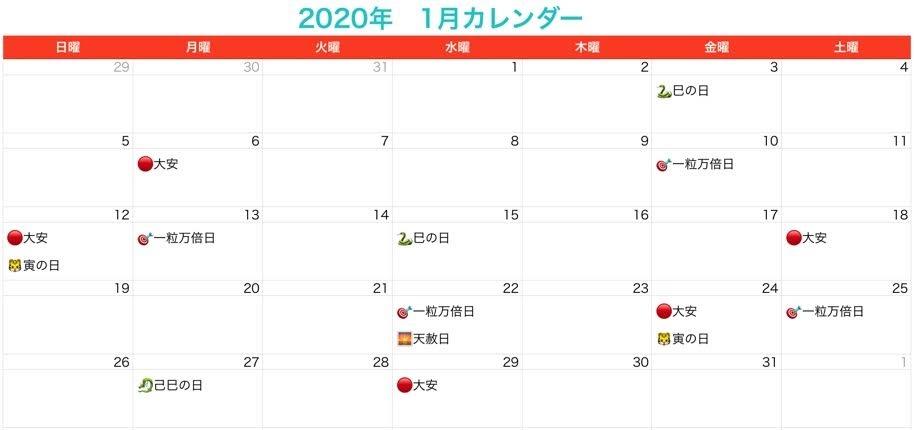 2020年1月 宝くじを買う日・縁起の良い日・開運日カレンダー