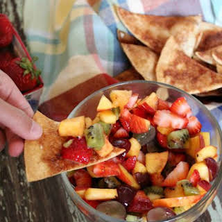 Fruit Salsa With Baked Cinnamon Chips.