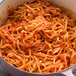 Pasta with Pancetta and Tomato Sauce.
