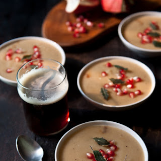 Sweet Potato and Brown Ale Soup with Crispy Sage and Pomegranates Recipe