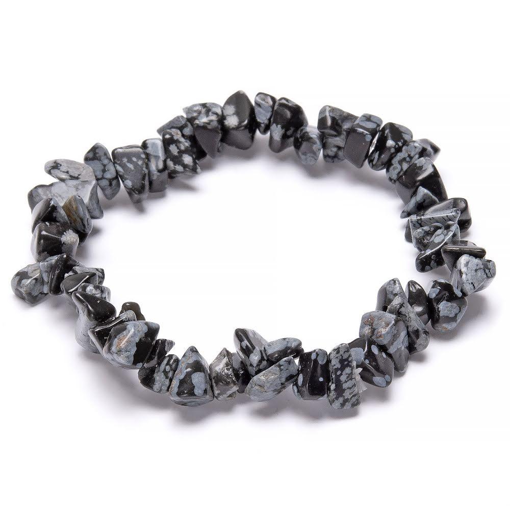 Obsidian snöflinga, chipsarmband med elastisk tråd