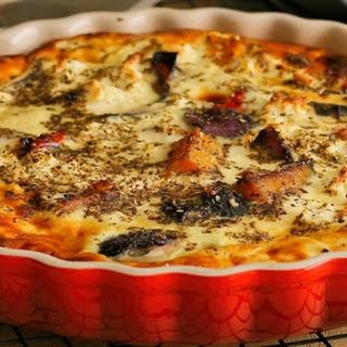 Cheesy Roast Vegetable Quiche.