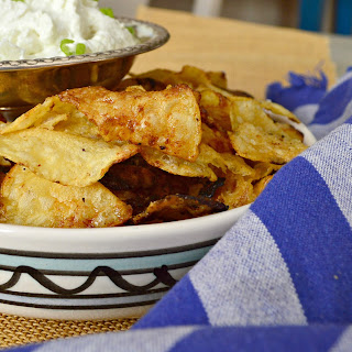 Beer and Honey Potato Chips with Onion Dip